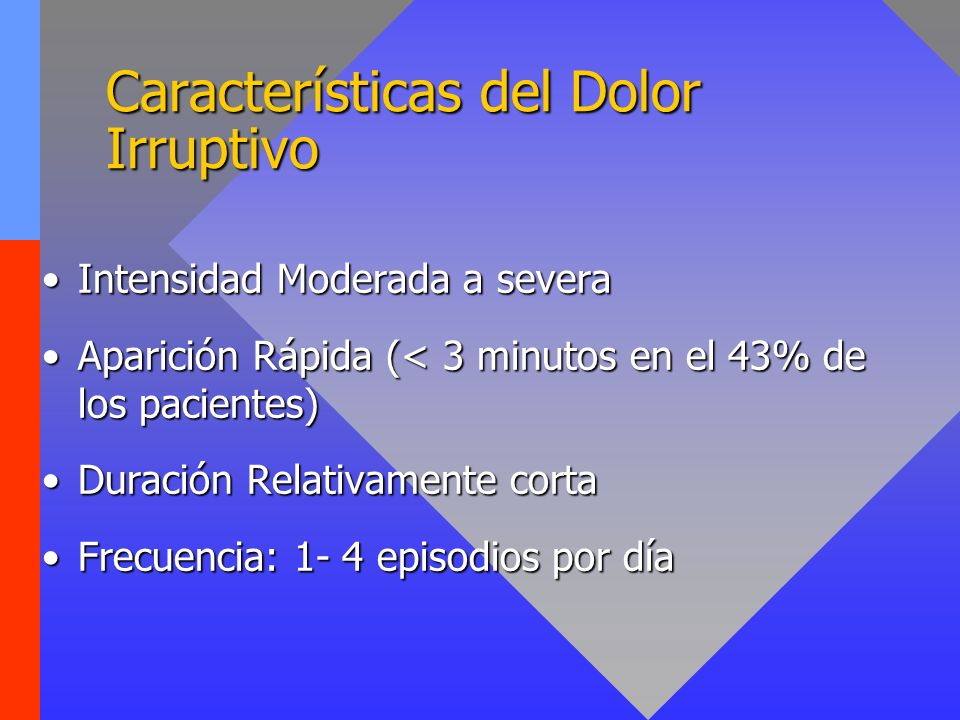 Características del Dolor Irruptivo Intensidad Moderada a severaIntensidad Moderada a severa Aparición Rápida (< 3 minutos en el 43% de los pacientes)