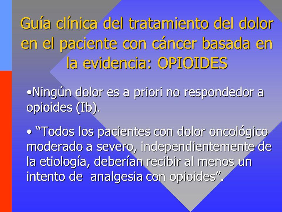 Guía clínica del tratamiento del dolor en el paciente con cáncer basada en la evidencia: OPIOIDES Ningún dolor es a priori no respondedor a opioides (