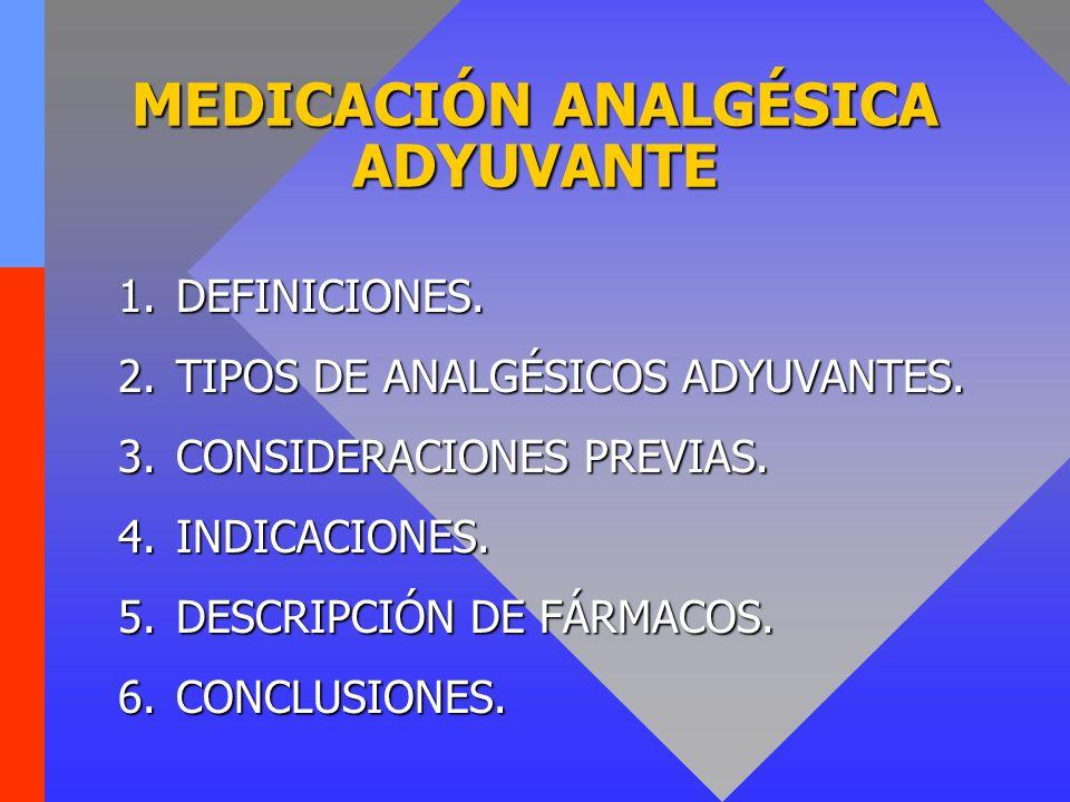 MEDICACIÓN ANALGÉSICA ADYUVANTE 1.DEFINICIONES. 2.TIPOS DE ANALGÉSICOS ADYUVANTES. 3.CONSIDERACIONES PREVIAS. 4.INDICACIONES. 5.DESCRIPCIÓN DE FÁRMACO