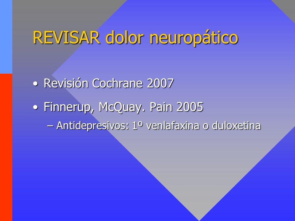 REVISAR dolor neuropático Revisión Cochrane 2007Revisión Cochrane 2007 Finnerup, McQuay. Pain 2005Finnerup, McQuay. Pain 2005 –Antidepresivos: 1º venl