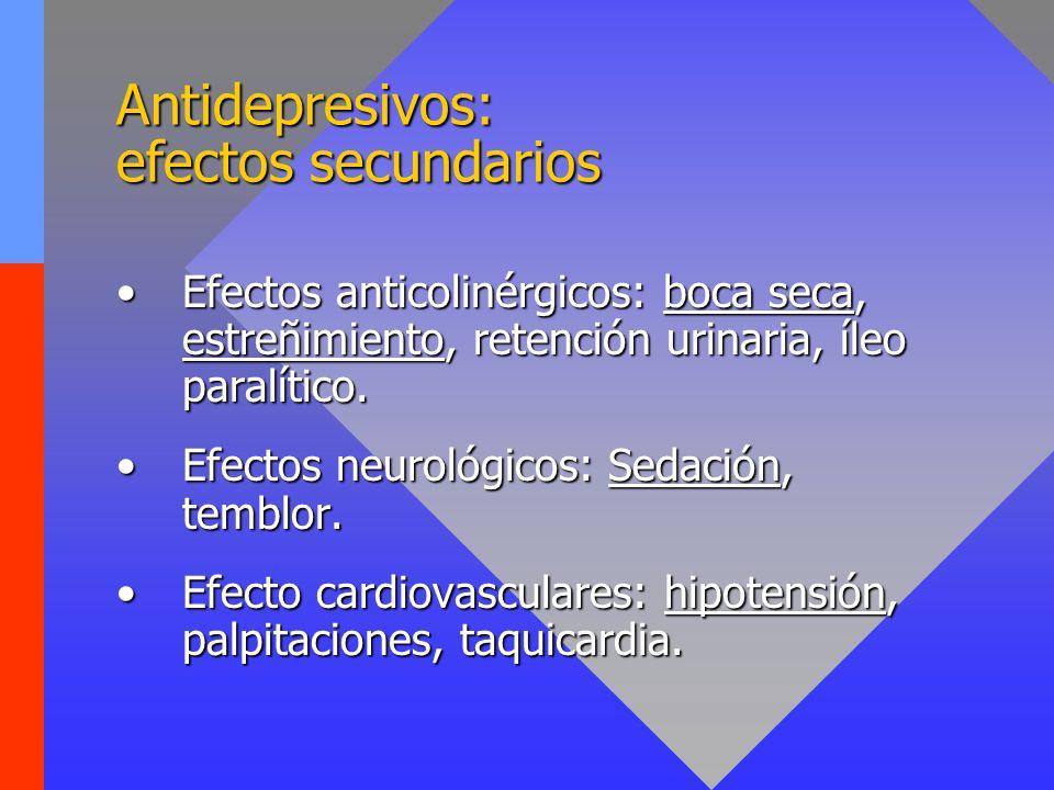 Antidepresivos: efectos secundarios Efectos anticolinérgicos: boca seca, estreñimiento, retención urinaria, íleo paralítico.Efectos anticolinérgicos: