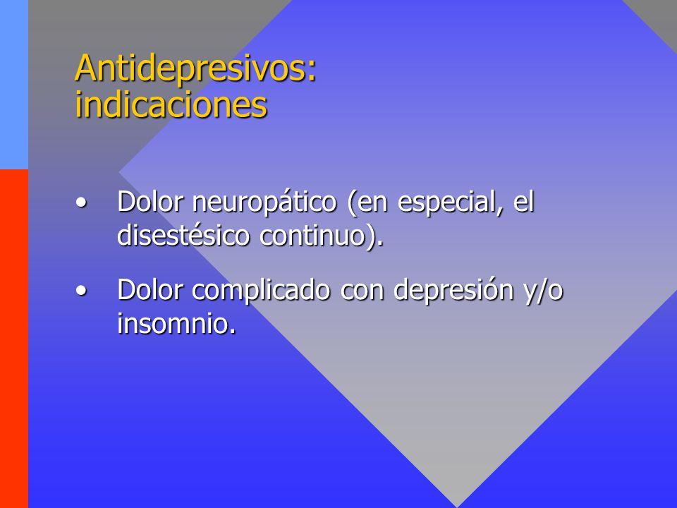 Antidepresivos: indicaciones Dolor neuropático (en especial, el disestésico continuo).Dolor neuropático (en especial, el disestésico continuo). Dolor