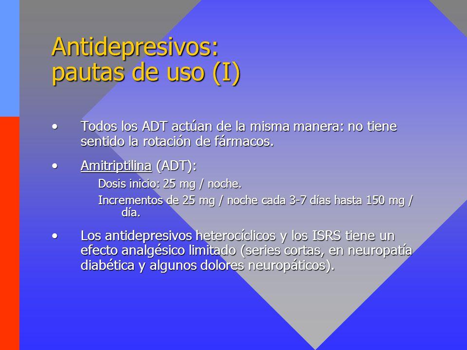 Antidepresivos: pautas de uso (I) Todos los ADT actúan de la misma manera: no tiene sentido la rotación de fármacos.Todos los ADT actúan de la misma m