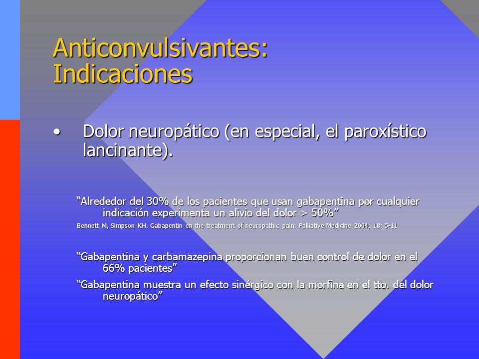 Anticonvulsivantes: Indicaciones Dolor neuropático (en especial, el paroxístico lancinante).Dolor neuropático (en especial, el paroxístico lancinante)