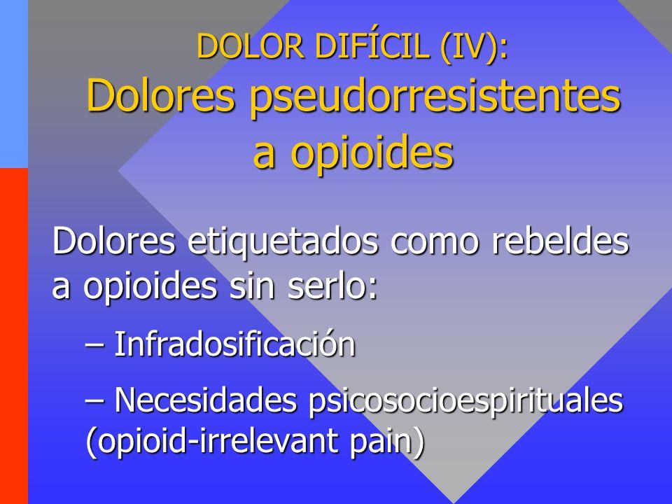 DOLOR DIFÍCIL (IV): Dolores pseudorresistentes a opioides Dolores etiquetados como rebeldes a opioides sin serlo: – Infradosificación – Necesidades ps