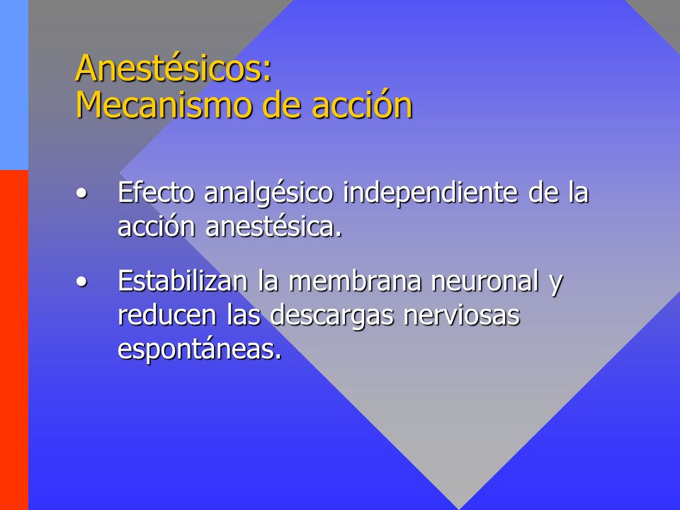 Anestésicos: Mecanismo de acción Efecto analgésico independiente de la acción anestésica.Efecto analgésico independiente de la acción anestésica. Esta