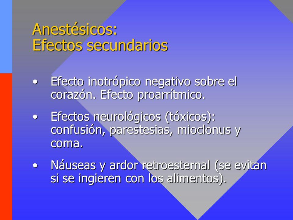 Anestésicos: Efectos secundarios Efecto inotrópico negativo sobre el corazón. Efecto proarrítmico.Efecto inotrópico negativo sobre el corazón. Efecto