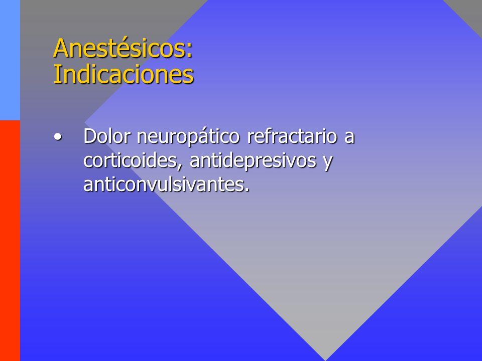 Anestésicos: Indicaciones Dolor neuropático refractario a corticoides, antidepresivos y anticonvulsivantes.Dolor neuropático refractario a corticoides