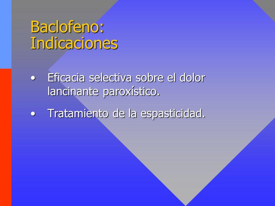 Baclofeno: Indicaciones Eficacia selectiva sobre el dolor lancinante paroxístico.Eficacia selectiva sobre el dolor lancinante paroxístico. Tratamiento