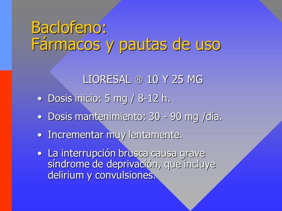 Baclofeno: Fármacos y pautas de uso LIORESAL 10 Y 25 MG Dosis inicio: 5 mg / 8-12 h.Dosis inicio: 5 mg / 8-12 h. Dosis mantenimiento: 30 - 90 mg /día.