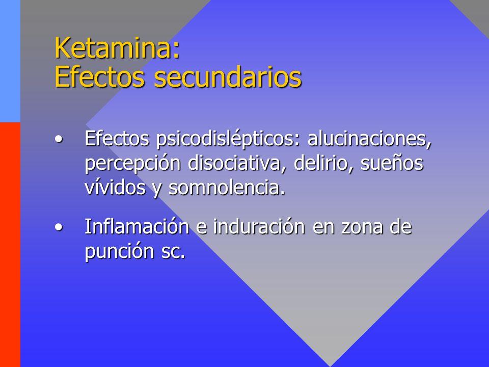 Ketamina: Efectos secundarios Efectos psicodislépticos: alucinaciones, percepción disociativa, delirio, sueños vívidos y somnolencia.Efectos psicodisl