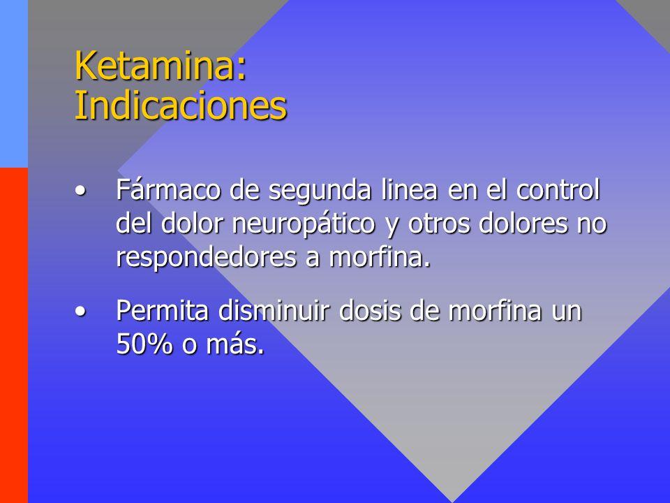 Ketamina: Indicaciones Fármaco de segunda linea en el control del dolor neuropático y otros dolores no respondedores a morfina.Fármaco de segunda line
