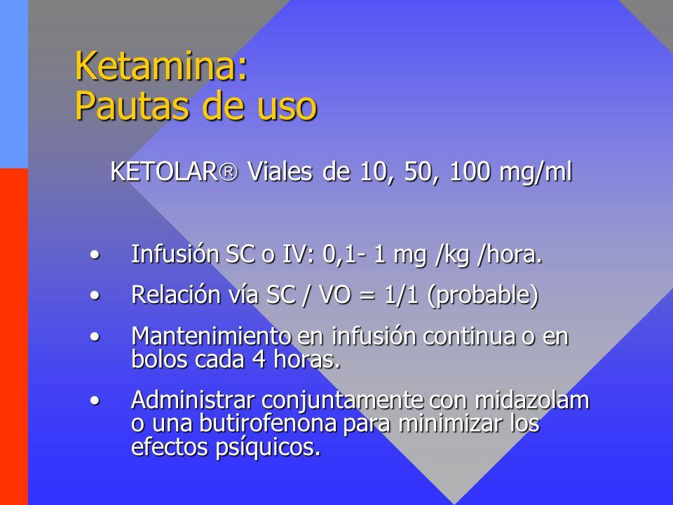 Ketamina: Pautas de uso KETOLAR Viales de 10, 50, 100 mg/ml Infusión SC o IV: 0,1- 1 mg /kg /hora.Infusión SC o IV: 0,1- 1 mg /kg /hora. Relación vía