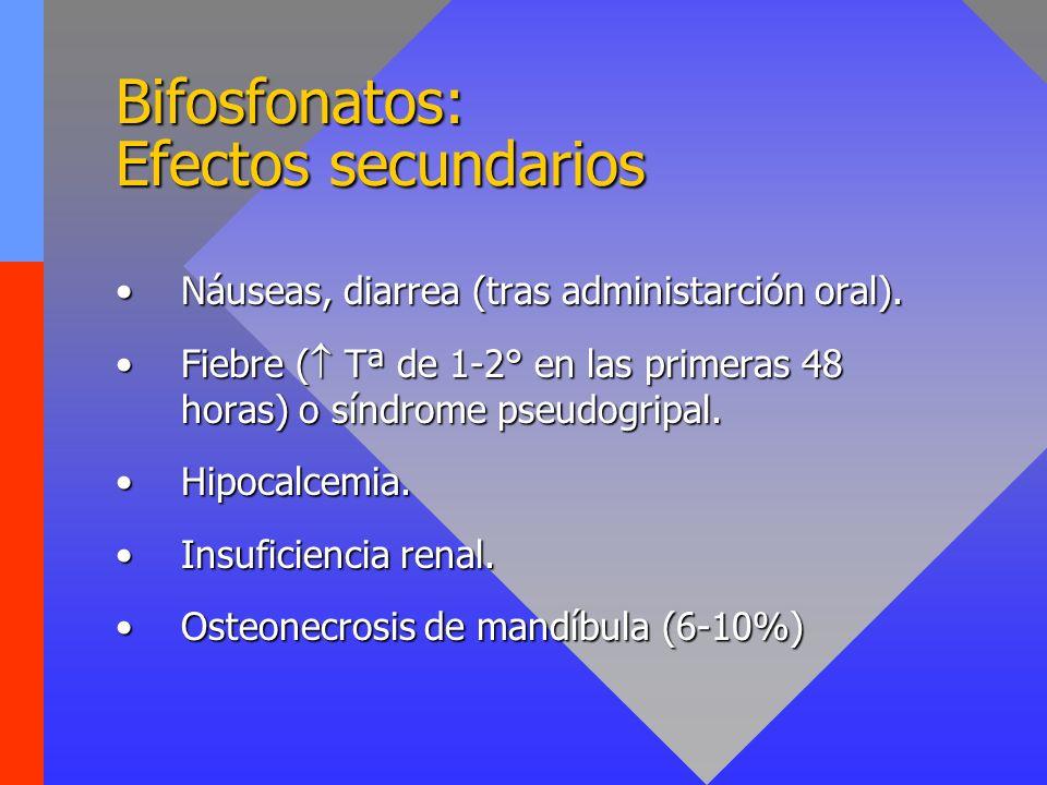 Bifosfonatos: Efectos secundarios Náuseas, diarrea (tras administarción oral).Náuseas, diarrea (tras administarción oral). Fiebre ( Tª de 1-2° en las