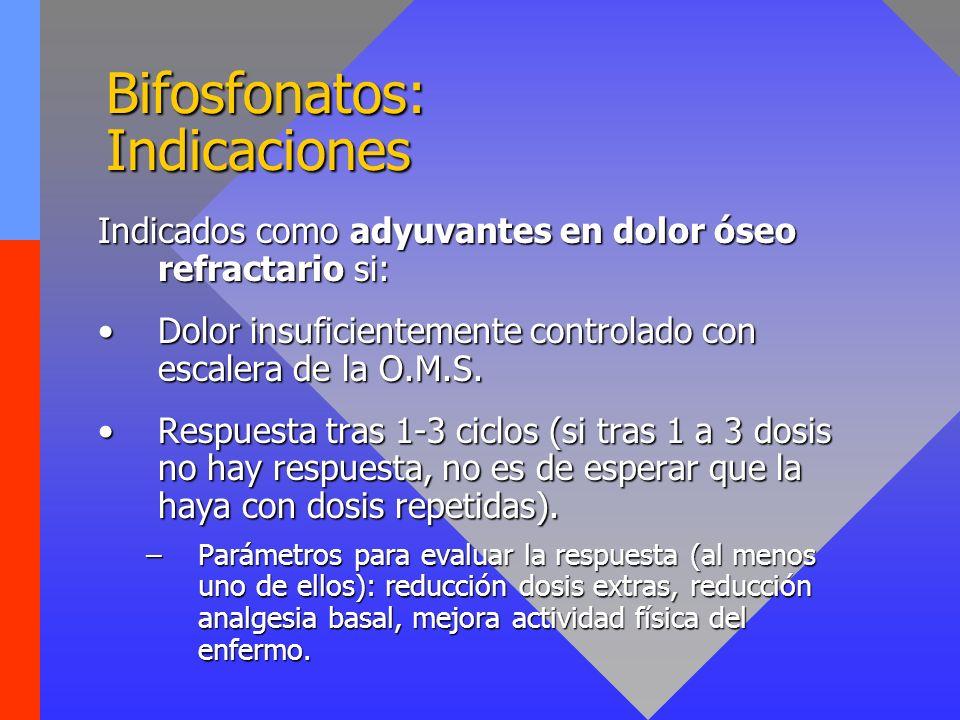 Bifosfonatos: Indicaciones Indicados como adyuvantes en dolor óseo refractario si: Dolor insuficientemente controlado con escalera de la O.M.S.Dolor i