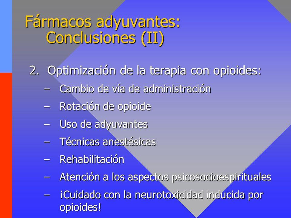 Fármacos adyuvantes: Conclusiones (II) 2.Optimización de la terapia con opioides: –Cambio de vía de administración –Rotación de opioide –Uso de adyuva