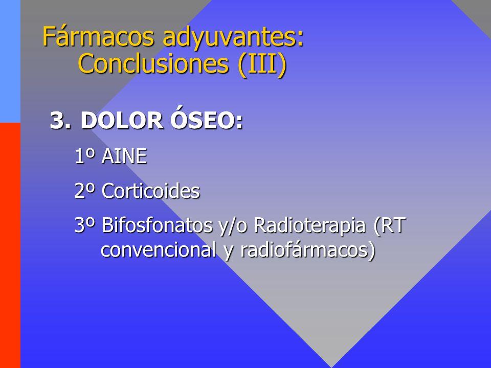Fármacos adyuvantes: Conclusiones (III) 3.DOLOR ÓSEO: 1º AINE 2º Corticoides 3º Bifosfonatos y/o Radioterapia (RT convencional y radiofármacos)