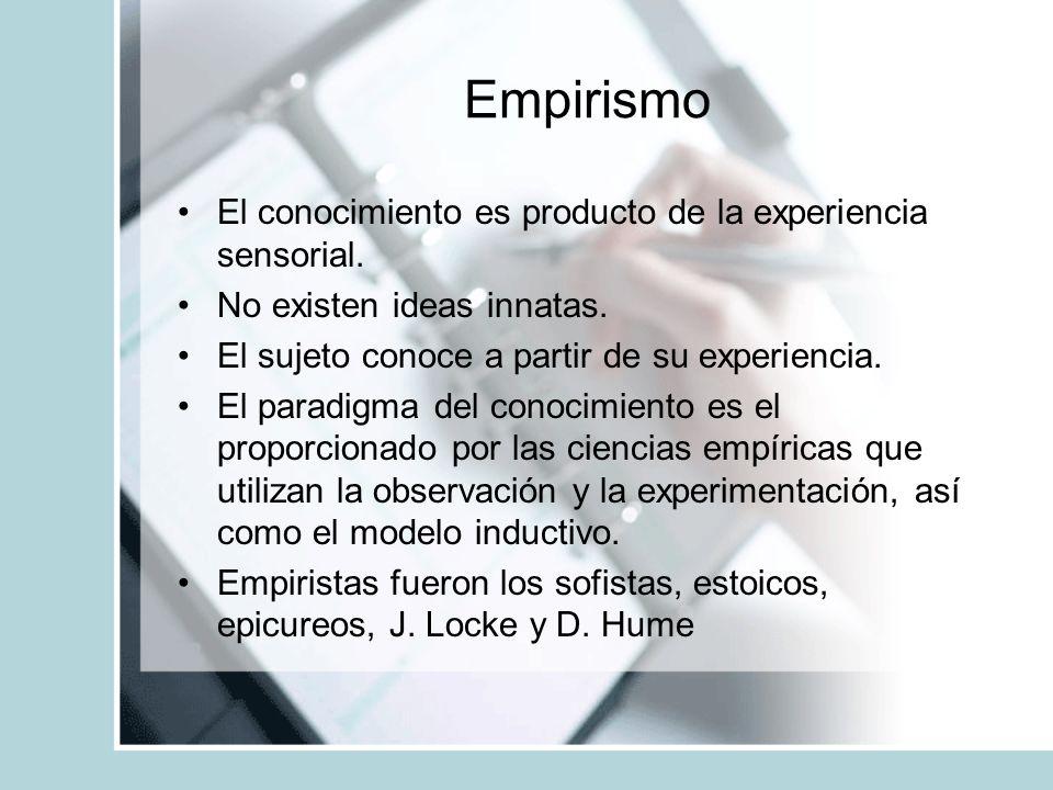 Empirismo El conocimiento es producto de la experiencia sensorial. No existen ideas innatas. El sujeto conoce a partir de su experiencia. El paradigma
