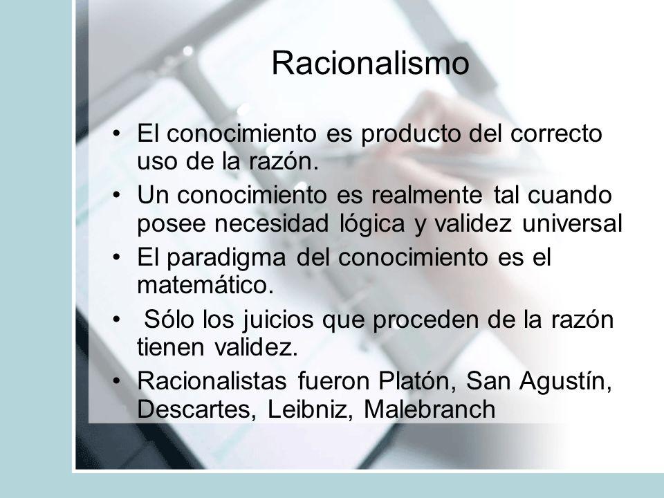 Racionalismo El conocimiento es producto del correcto uso de la razón.