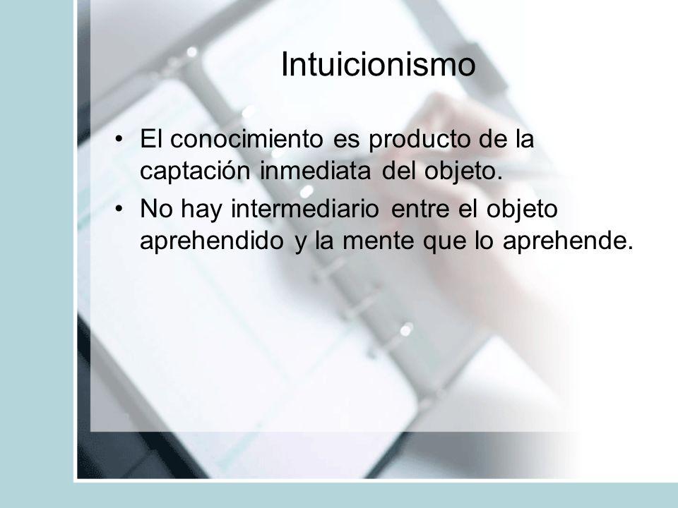 Intuicionismo El conocimiento es producto de la captación inmediata del objeto. No hay intermediario entre el objeto aprehendido y la mente que lo apr