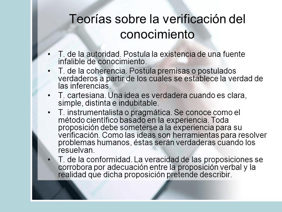 Teorías sobre la verificación del conocimiento T.de la autoridad.