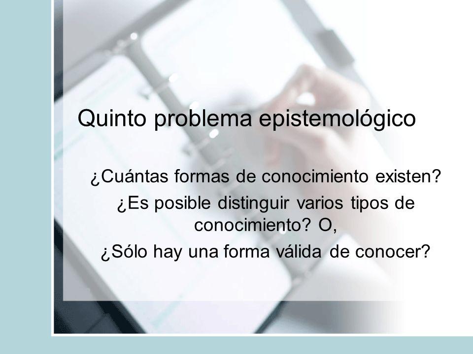 Quinto problema epistemológico ¿Cuántas formas de conocimiento existen.