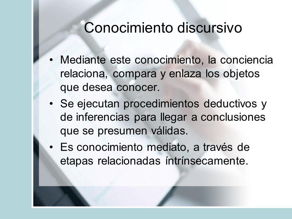 Conocimiento discursivo Mediante este conocimiento, la conciencia relaciona, compara y enlaza los objetos que desea conocer. Se ejecutan procedimiento