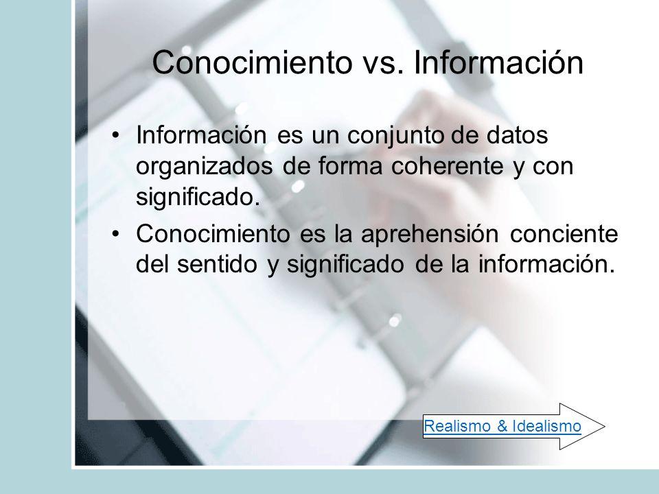 Conocimiento vs. Información Información es un conjunto de datos organizados de forma coherente y con significado. Conocimiento es la aprehensión conc