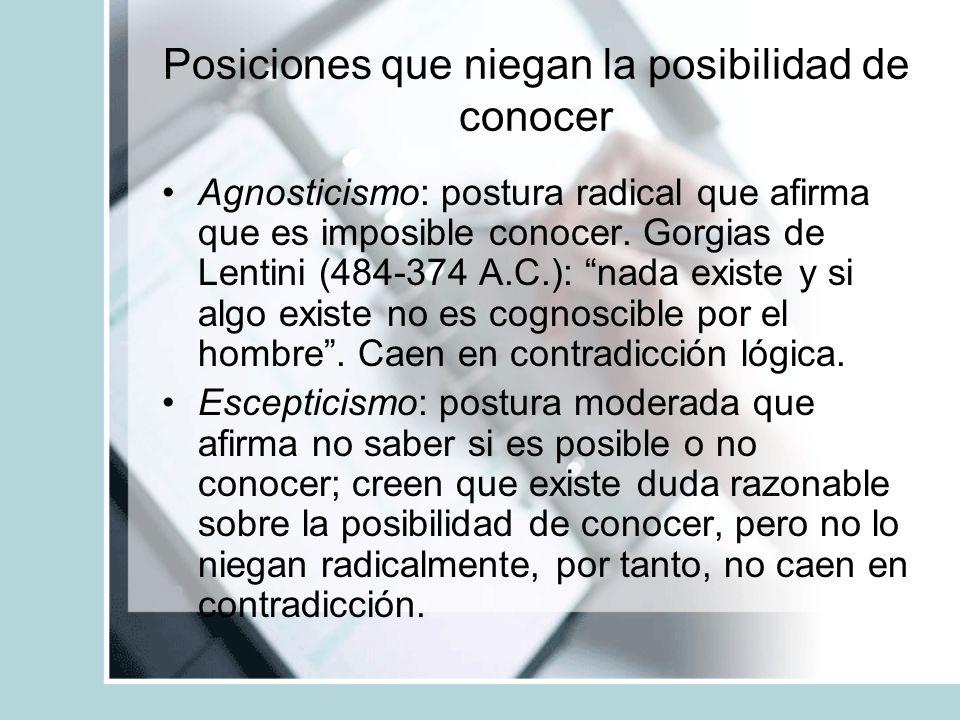 Posiciones que niegan la posibilidad de conocer Agnosticismo: postura radical que afirma que es imposible conocer. Gorgias de Lentini (484-374 A.C.):
