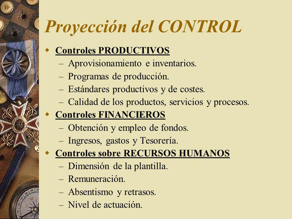 Punto de aplicación del control Controles preliminares o preventivos – materiales, tesorería, maquinaria Controles concurrentes/direccionales – temperaturas y presiones, cadena de montaje Controles retroinformativos y postoperativos
