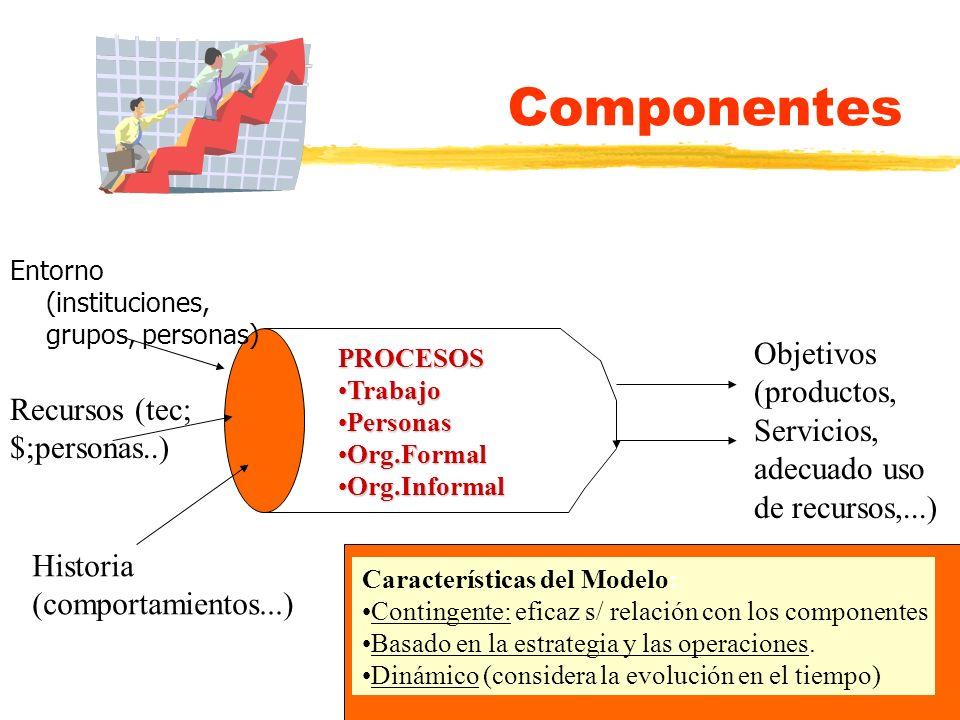 Componentes Entorno (instituciones, grupos, personas) Recursos (tec; $;personas..) Historia (comportamientos...) PROCESOS TrabajoTrabajo PersonasPerso