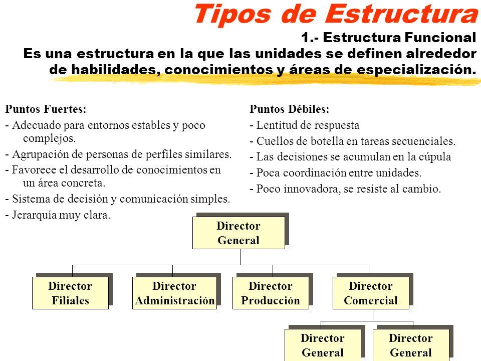 Tipos de Estructura 1.- Estructura Funcional Es una estructura en la que las unidades se definen alrededor de habilidades, conocimientos y áreas de es