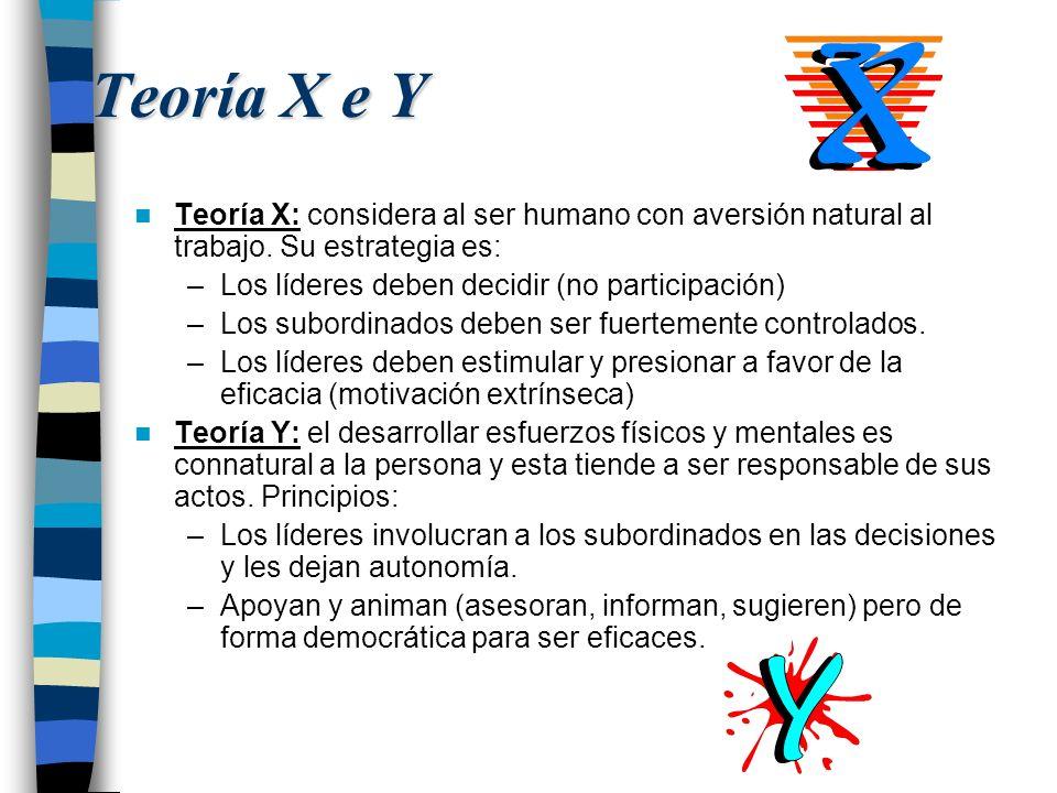 Teoría X e Y Teoría X: considera al ser humano con aversión natural al trabajo. Su estrategia es: –Los líderes deben decidir (no participación) –Los s