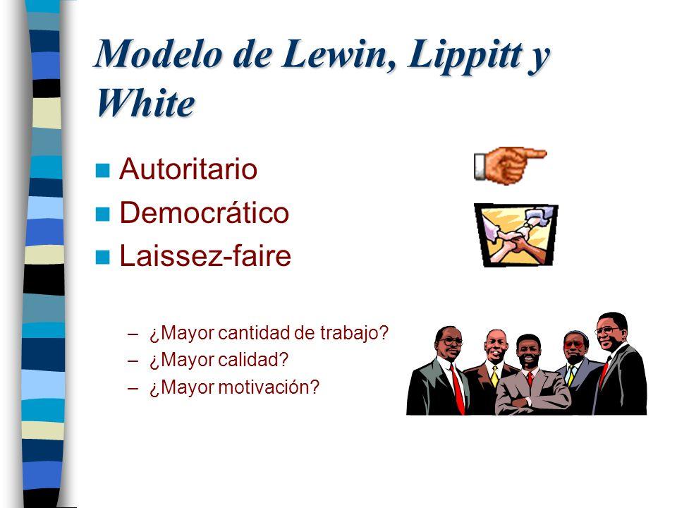 Modelo de Lewin, Lippitt y White Autoritario Democrático Laissez-faire –¿Mayor cantidad de trabajo? –¿Mayor calidad? –¿Mayor motivación?