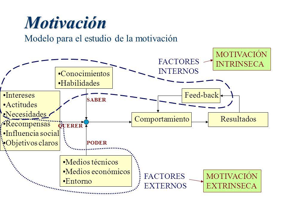 Motivación Motivación Modelo para el estudio de la motivación Conocimientos Habilidades Medios técnicos Medios económicos Entorno Intereses Actitudes