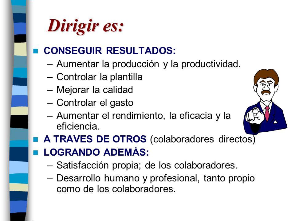 Dirigir es: CONSEGUIR RESULTADOS: –Aumentar la producción y la productividad. –Controlar la plantilla –Mejorar la calidad –Controlar el gasto –Aumenta