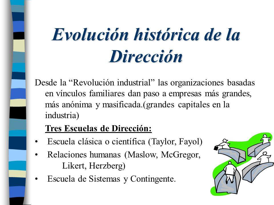 Evolución histórica de la Dirección Desde la Revolución industrial las organizaciones basadas en vínculos familiares dan paso a empresas más grandes,