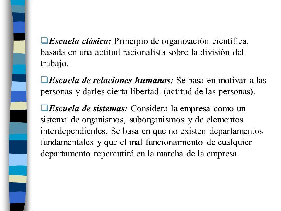 Escuela clásica: Principio de organización científica, basada en una actitud racionalista sobre la división del trabajo. Escuela de relaciones humanas