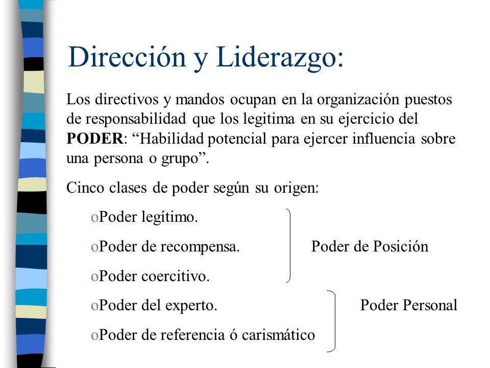 Dirección y Liderazgo: Los directivos y mandos ocupan en la organización puestos de responsabilidad que los legitima en su ejercicio del PODER: Habili