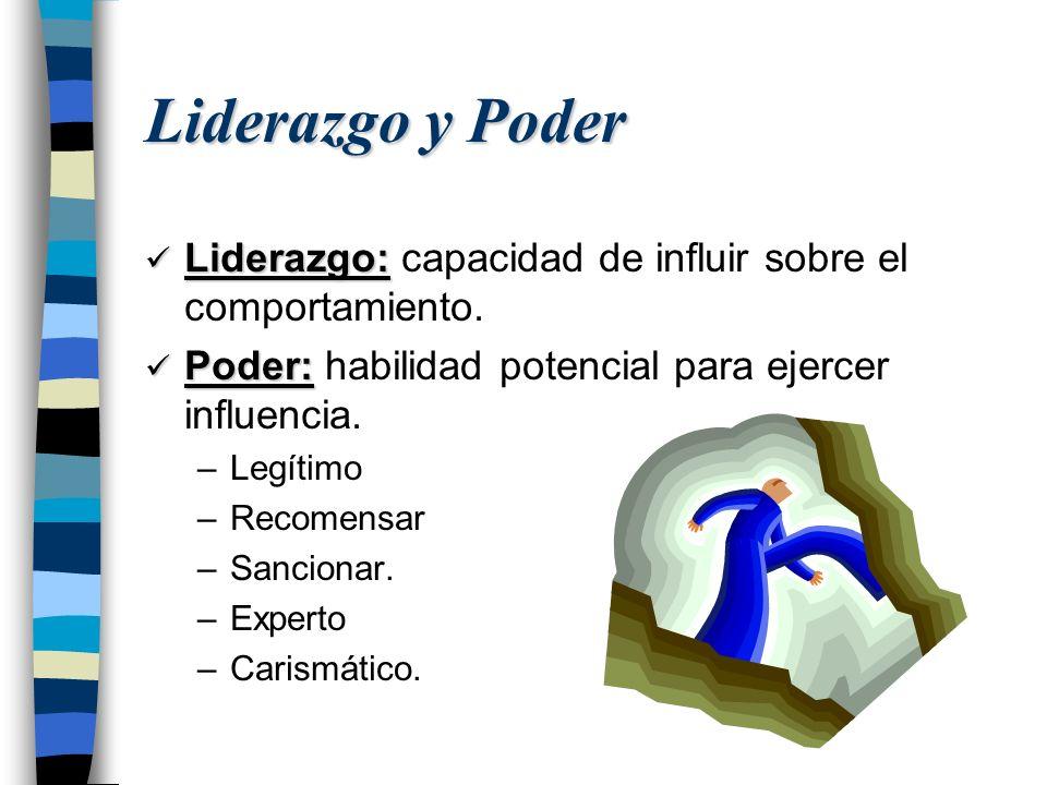 Liderazgo y Poder Liderazgo: Liderazgo: capacidad de influir sobre el comportamiento. Poder: Poder: habilidad potencial para ejercer influencia. –Legí