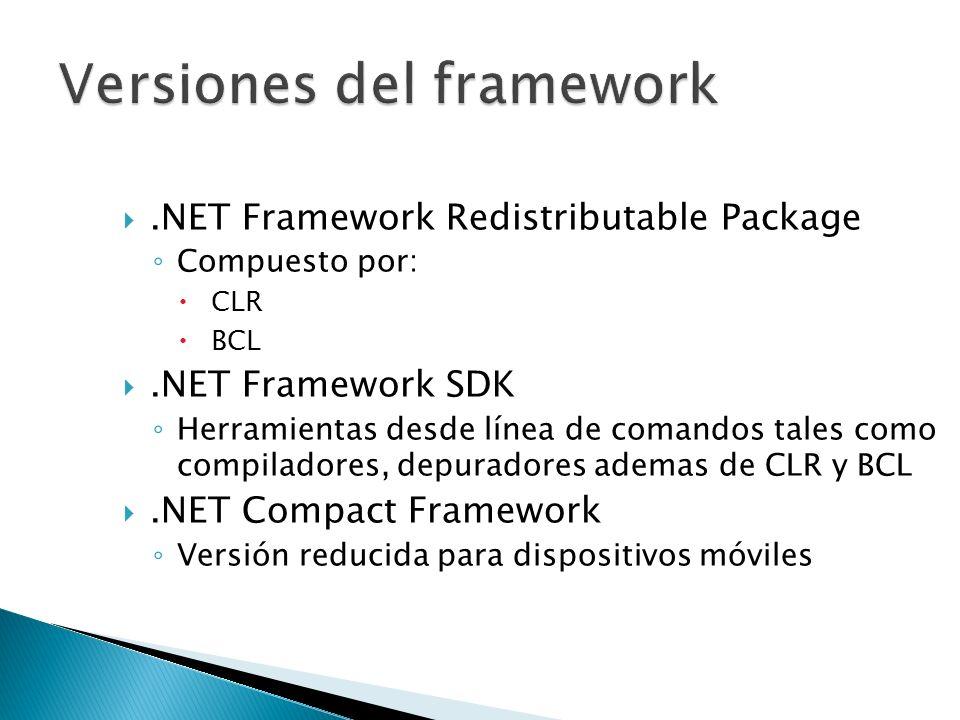 .NET Framework Redistributable Package Compuesto por: CLR BCL.NET Framework SDK Herramientas desde línea de comandos tales como compiladores, depurado