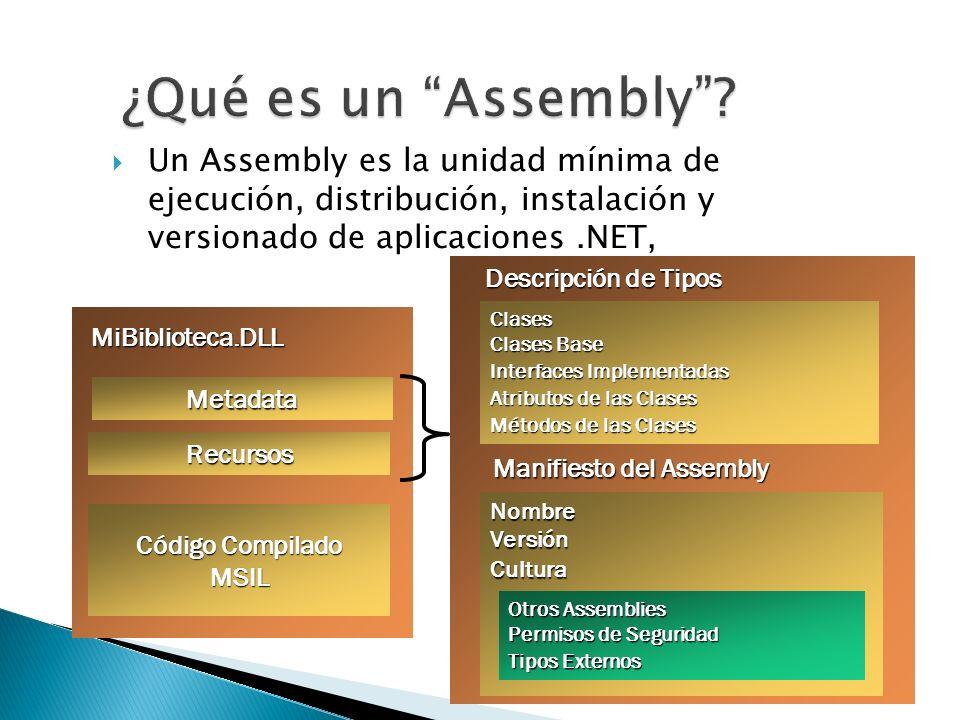 Un Assembly es la unidad mínima de ejecución, distribución, instalación y versionado de aplicaciones.NET, Metadata Código Compilado MSIL Recursos MiBi