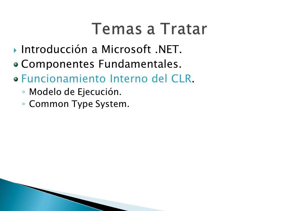 Introducción a Microsoft.NET. Componentes Fundamentales. Funcionamiento Interno del CLR. Modelo de Ejecución. Common Type System.