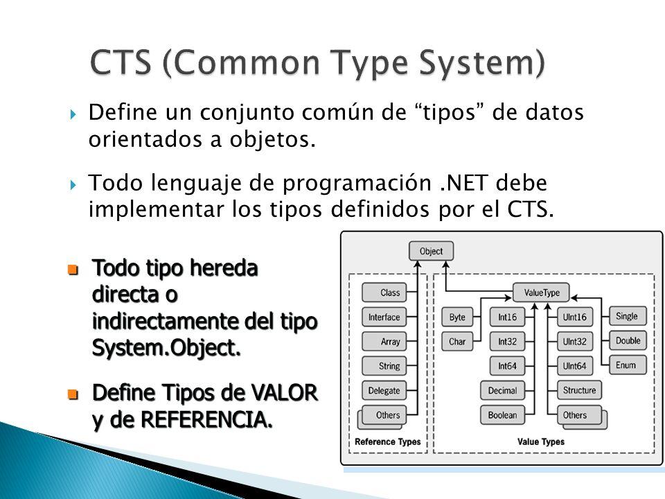 Define un conjunto común de tipos de datos orientados a objetos. Todo lenguaje de programación.NET debe implementar los tipos definidos por el CTS. To