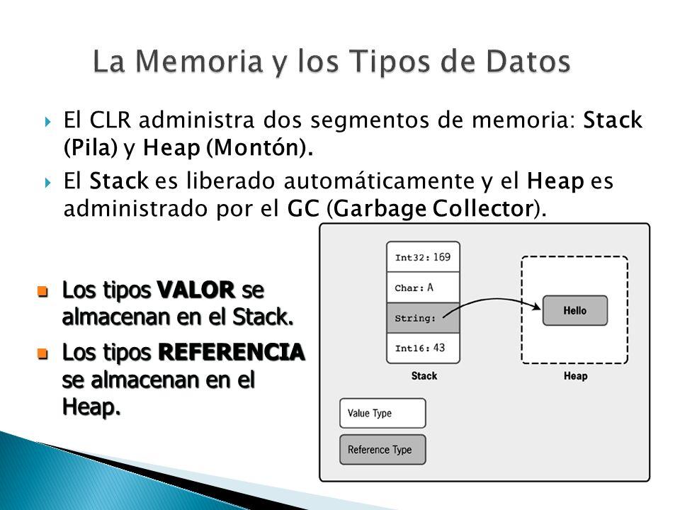 El CLR administra dos segmentos de memoria: Stack (Pila) y Heap (Montón). El Stack es liberado automáticamente y el Heap es administrado por el GC (Ga