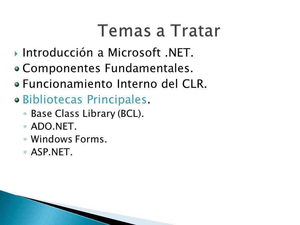 Introducción a Microsoft.NET. Componentes Fundamentales. Funcionamiento Interno del CLR. Bibliotecas Principales. Base Class Library (BCL). ADO.NET. W