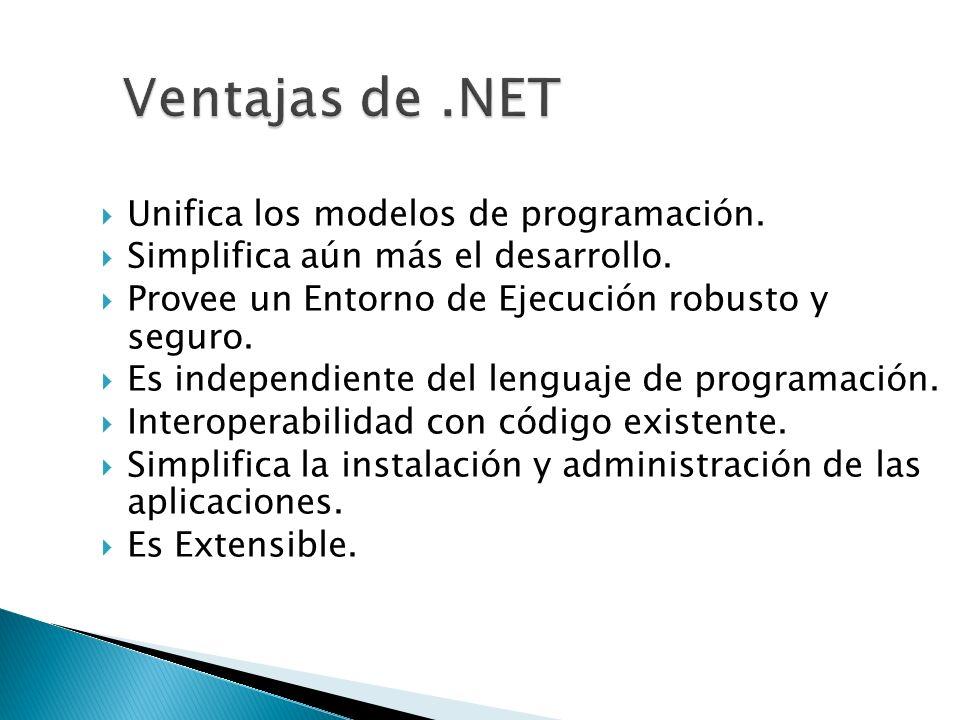 Unifica los modelos de programación. Simplifica aún más el desarrollo. Provee un Entorno de Ejecución robusto y seguro. Es independiente del lenguaje