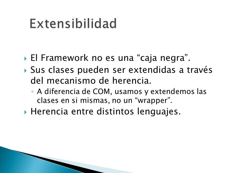 El Framework no es una caja negra. Sus clases pueden ser extendidas a través del mecanismo de herencia. A diferencia de COM, usamos y extendemos las c