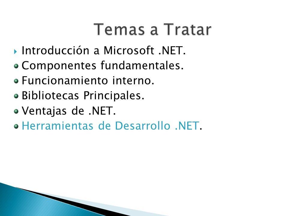 Introducción a Microsoft.NET. Componentes fundamentales. Funcionamiento interno. Bibliotecas Principales. Ventajas de.NET. Herramientas de Desarrollo.