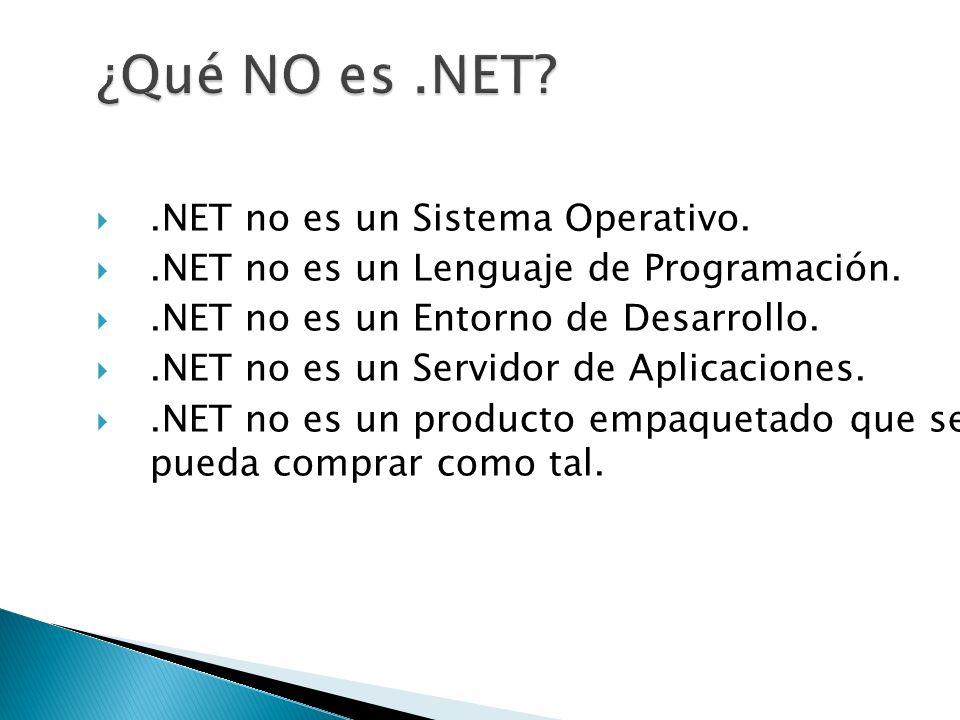 .NET no es un Sistema Operativo..NET no es un Lenguaje de Programación..NET no es un Entorno de Desarrollo..NET no es un Servidor de Aplicaciones..NET